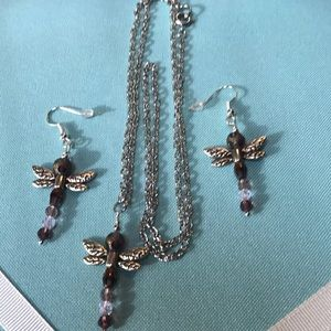 Jewelry - Dragonfly earrings and necklace silver crystals